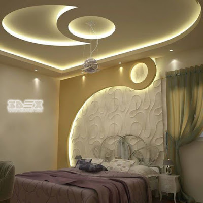 modern gypsum board design for false ceiling and wall for bedrooms 2019