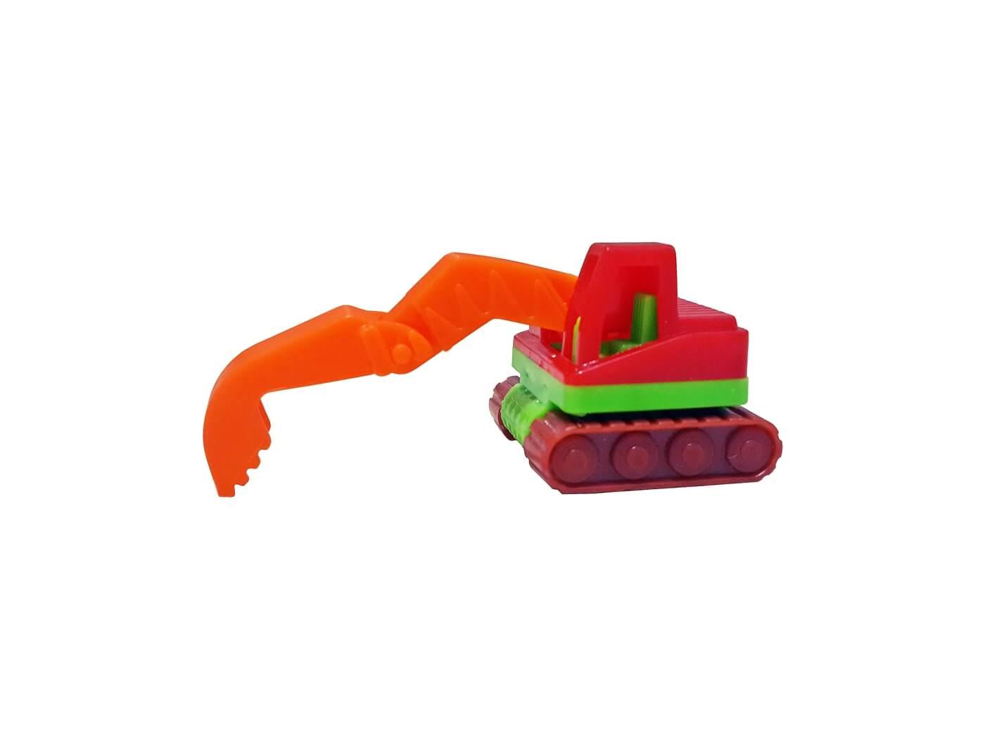 Excavator Toy on White Background, Construction Machine Toy