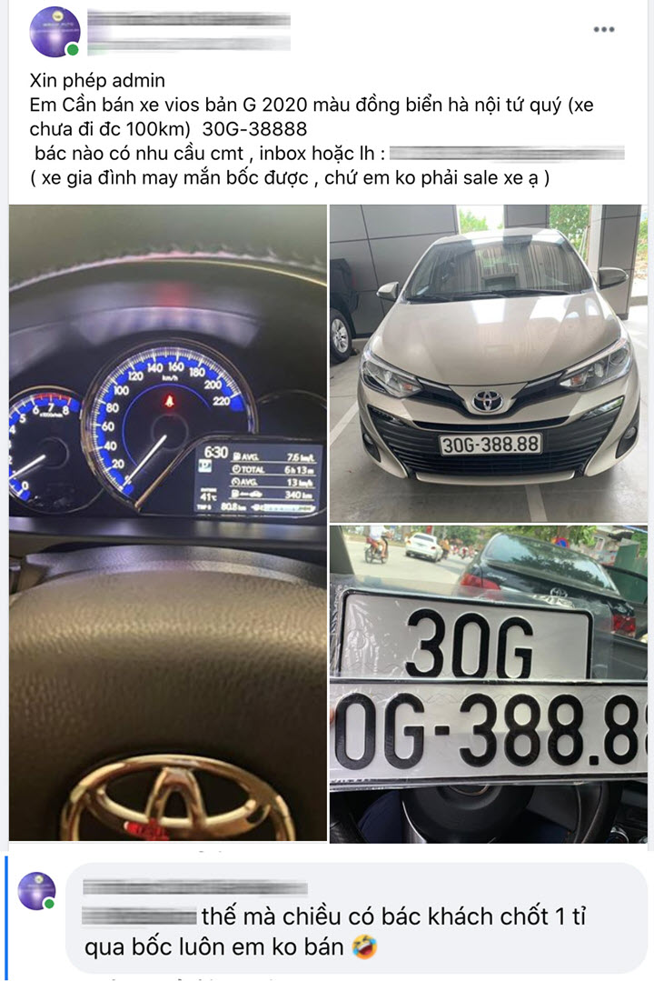 Bốc đc biển tứ quý 8, chủ Toyota Vios tại Hà Nội bán lại giá hơn 1 tỷ, khẳng định 'khách chốt 1 tỷ lấy luôn còn không bán'