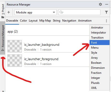Resource Manager - Font Tab