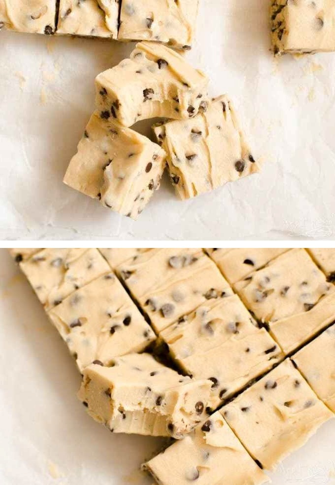 Easy Cookie Dough Fudge is a cross between chocolate chip cookie dough and delicious, creamy fudge! This no bake treat comes together quickly and will satisfy everyone's sweet tooth! #cookie #nobake #cookiedough #fudge #cookierecipe #bars #desserts #easydessert #easycookies
