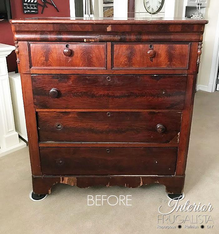 Red Antique Empire Dresser Before Makeover