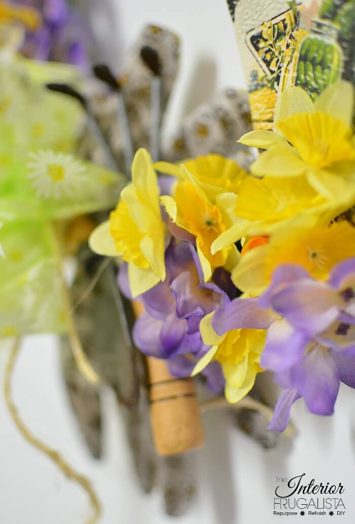 DIY Spring Wreath Faux Daffodils And Pansies