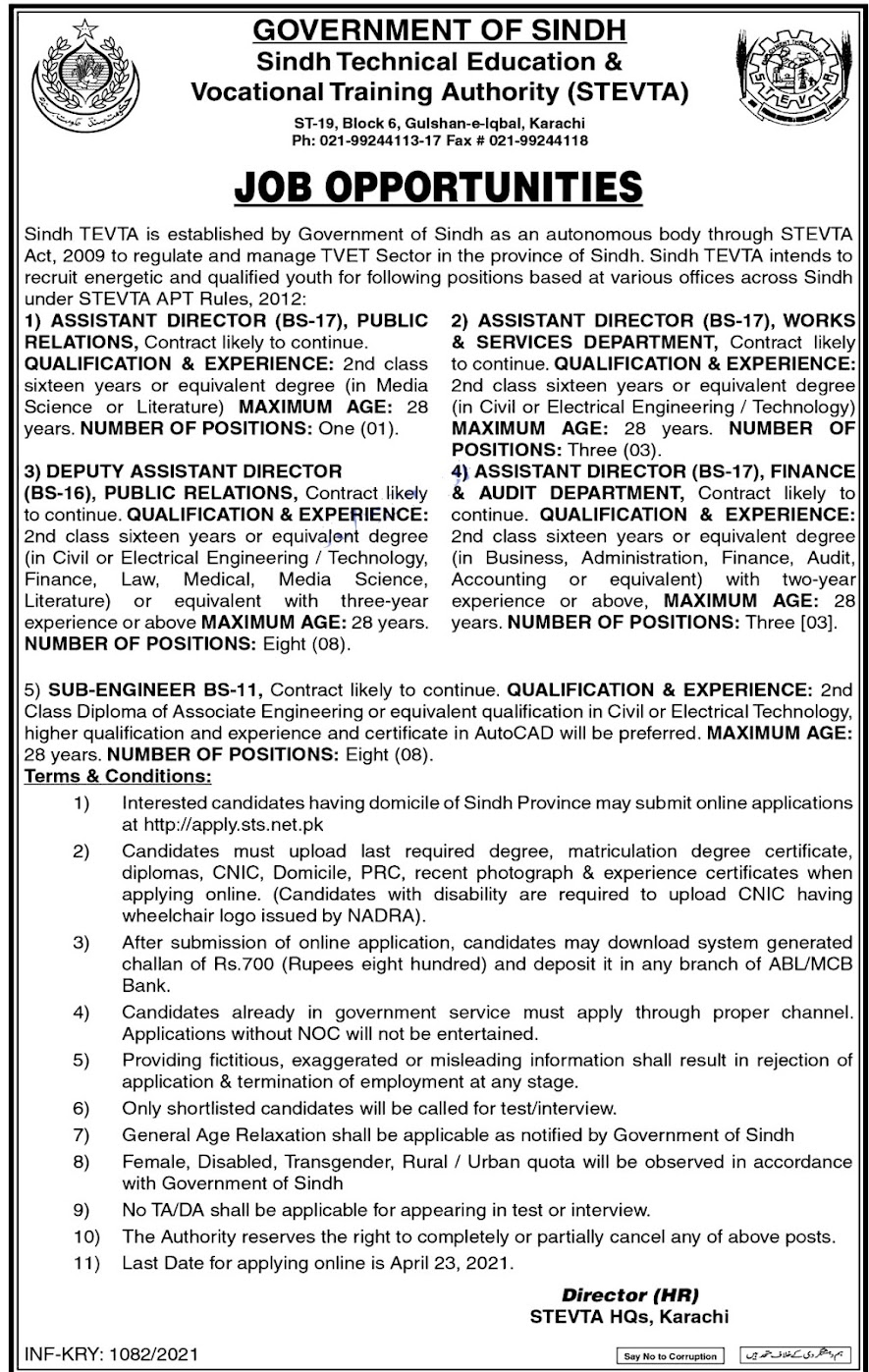 Latest Jobs in Sindh Technical Education And Vocational Training Authority 2021 STEVA