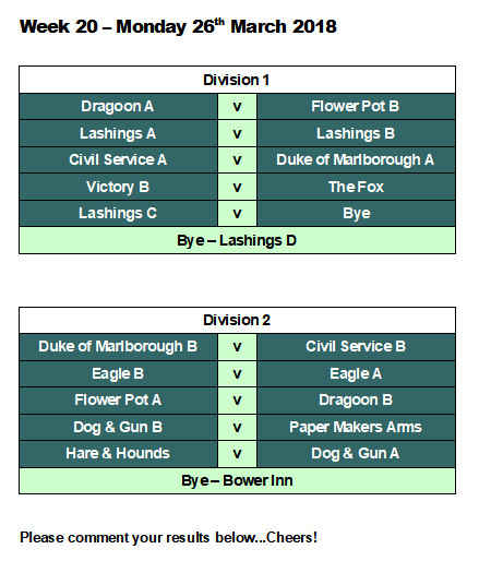Official Lashings Pool League: Week 20 Fixtures
