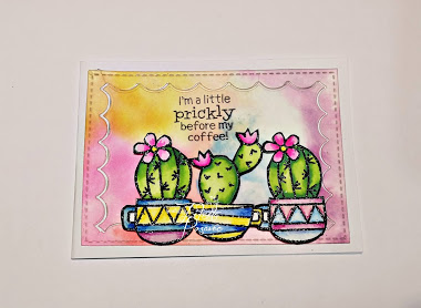 I'm a little prickly before my coffee by Bad Kitty features Cuppa Cactus by Newton's Nook Designs; #newtonsnook, #inkypaws, #coffeecards, #watercolors, #cardmaking