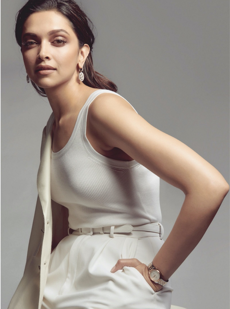 Deepika Padukone wears Ralph Lauren top, pants, blazer and belt