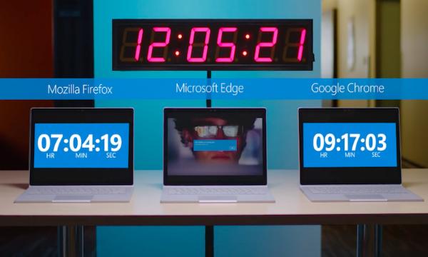 """مايكروسوفت تكشف عن تفوق متصفحها """"إيدج"""" على مستوى استهلاك البطارية"""