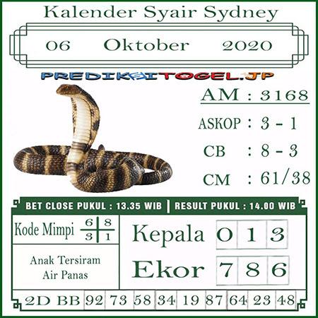 Kalender Prediksi Sidney Selasa 06 Oktober 2020