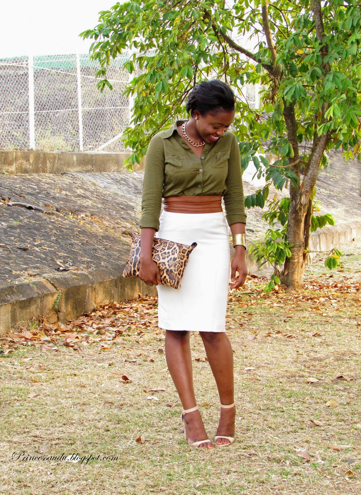 beige pencil skirt, Zara nude ankle strap sandals, khaki, leopard print clutch, army green shirt