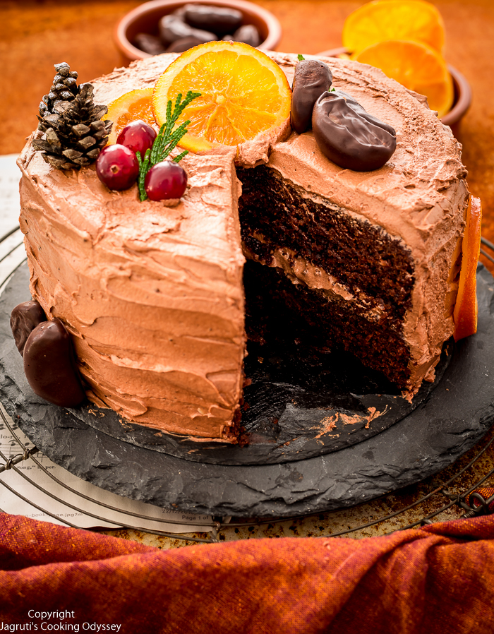 this is the best eggless chocolate orange cake recipe with step by step pictures out there. it is an easy, simple and tasty cake recipe that is made with basic ingredients such as plain flour, chocolate and orange juice. this moist, delicious and flavourful chocolate sponge cake is filled and topped with creamy chocolate and orange frosting and decorated with candied orange slices.