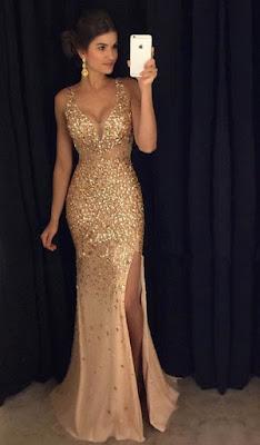 vestido de graduacion color oro