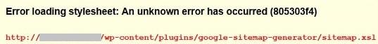 Sitemap Error Loading Stylesheet