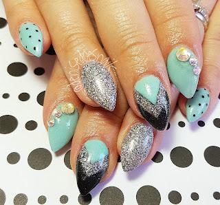 teal and black chevron swarovski nail art