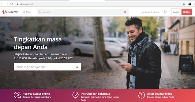 tampilan website kursus online udemy