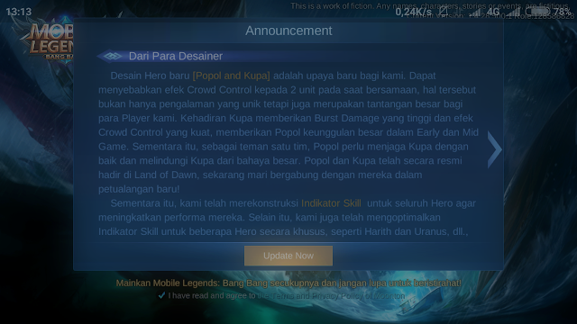 cara update Ml terbaru
