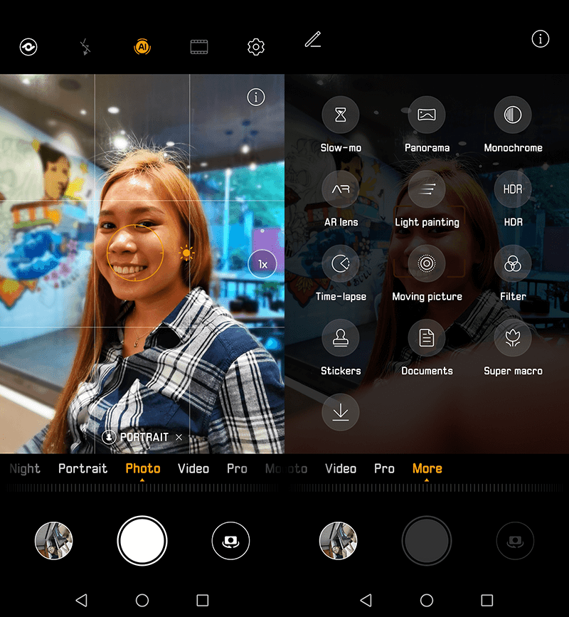 The camera UI and modes