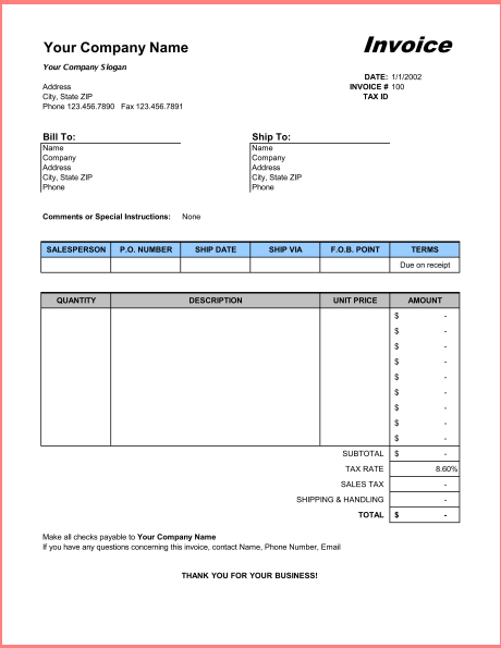 Billing Invoice Template Free   Resume Business Template