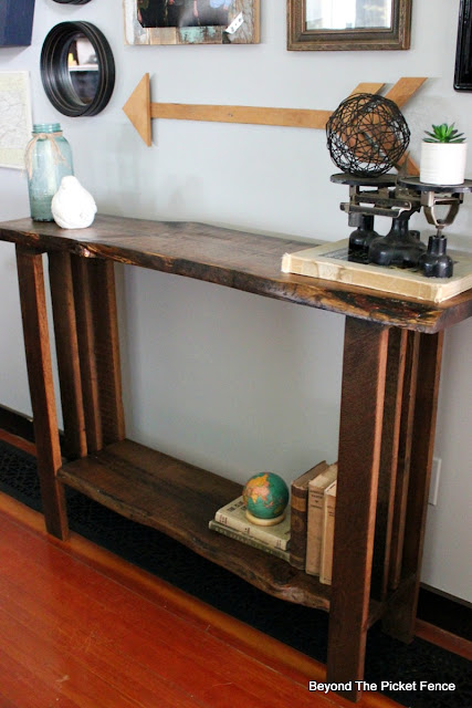 live edge reclaimed wood sofa table
