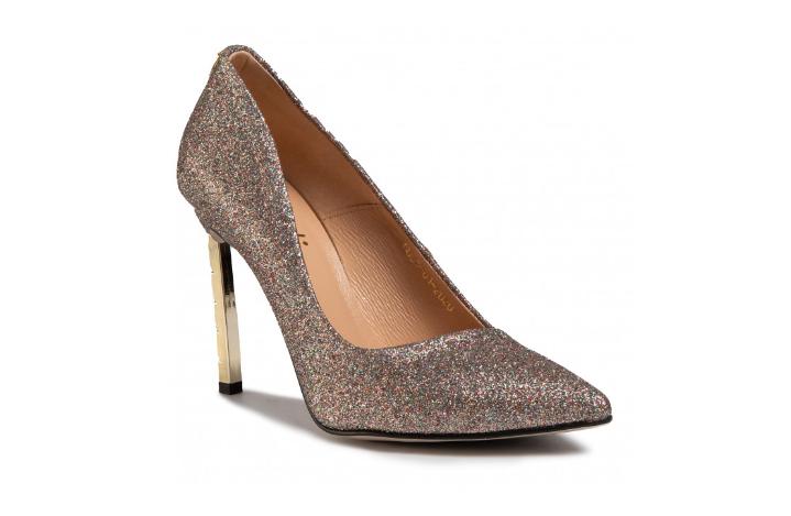 Pantofi cu toc aurii cu glitter din piele de ocazii speciale