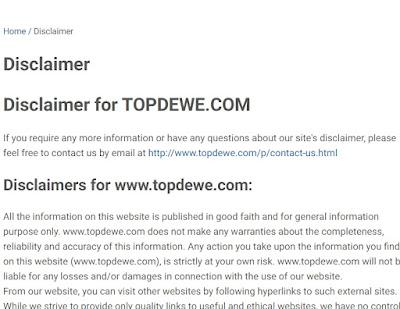 Cara membuat disclaimer blog online