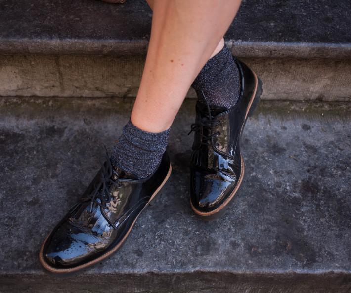 glitter socks, patent tassel brogues