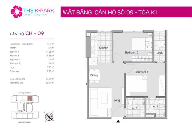 Thiết kế căn hộ 09 - Dt 57m2 - 02 phòng ngủ