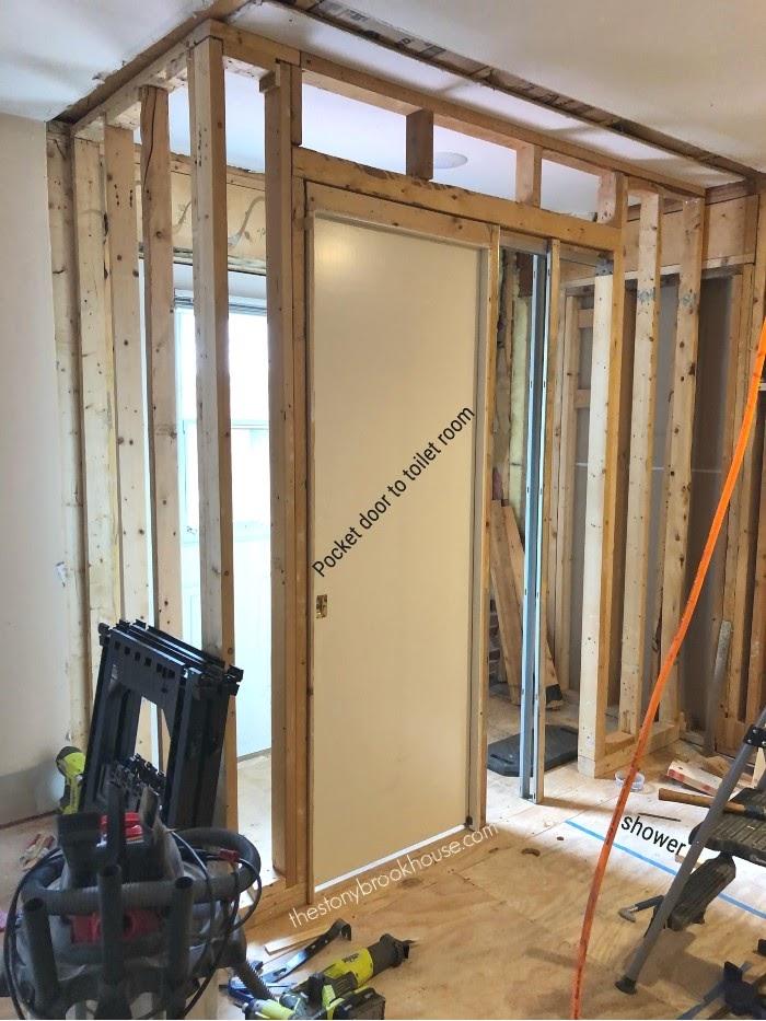 Shower area framed