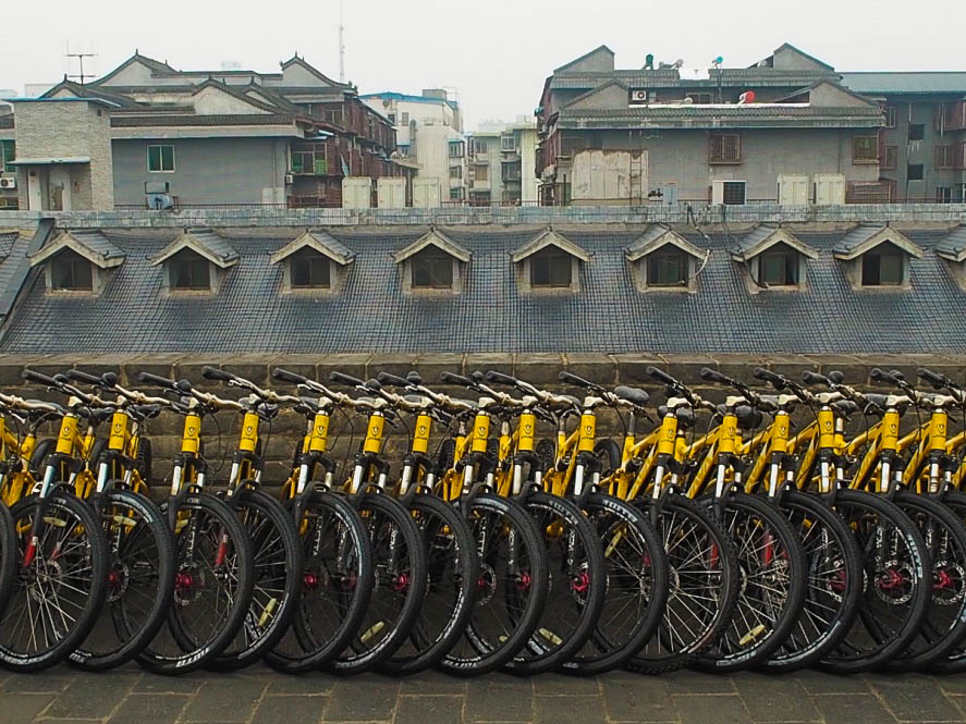 Hire bicycles on Xi'an city walls
