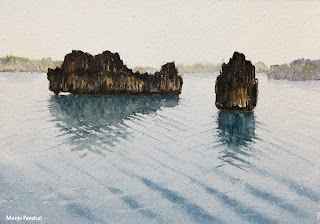 Wave Ripples - A watercolor painting on Chitrapat handmade paper