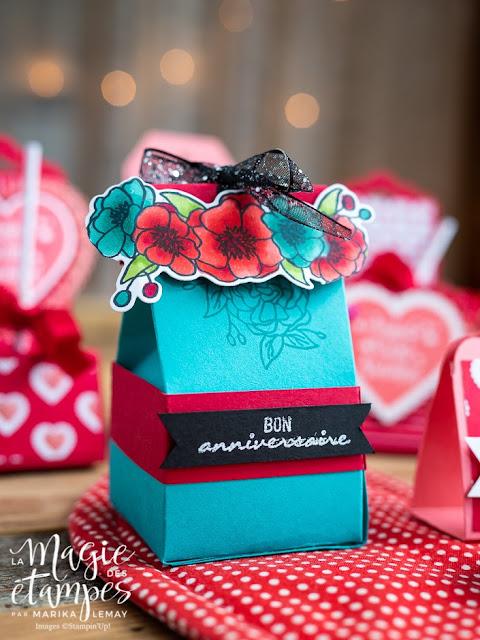 Boites Stampin' Up! pour la St-Valentin créée avec le jeu d'étampe S'épanouir et grandir