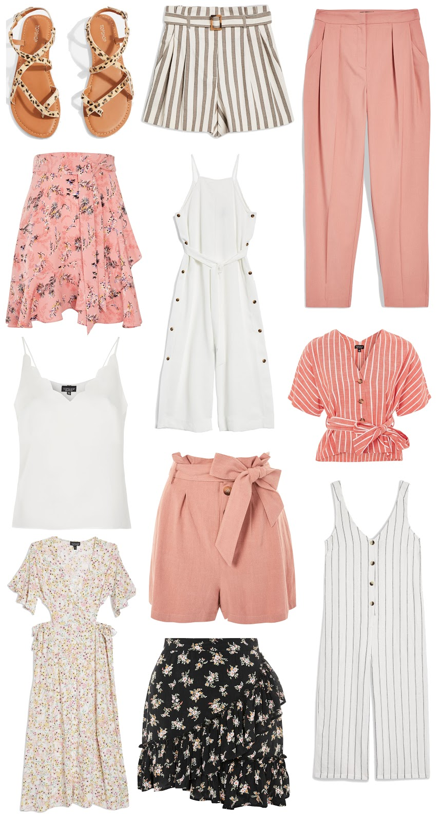 da6a2a6844 Leopard Print Sandals £18.00 ∙ Taupe Striped Shorts £32.00 ∙ Tapered  Trousers £25.00 ∙ Ruffle Tie Mini Skirt £29.00 ∙ Button Playsuit £49.00 ∙  Striped ...