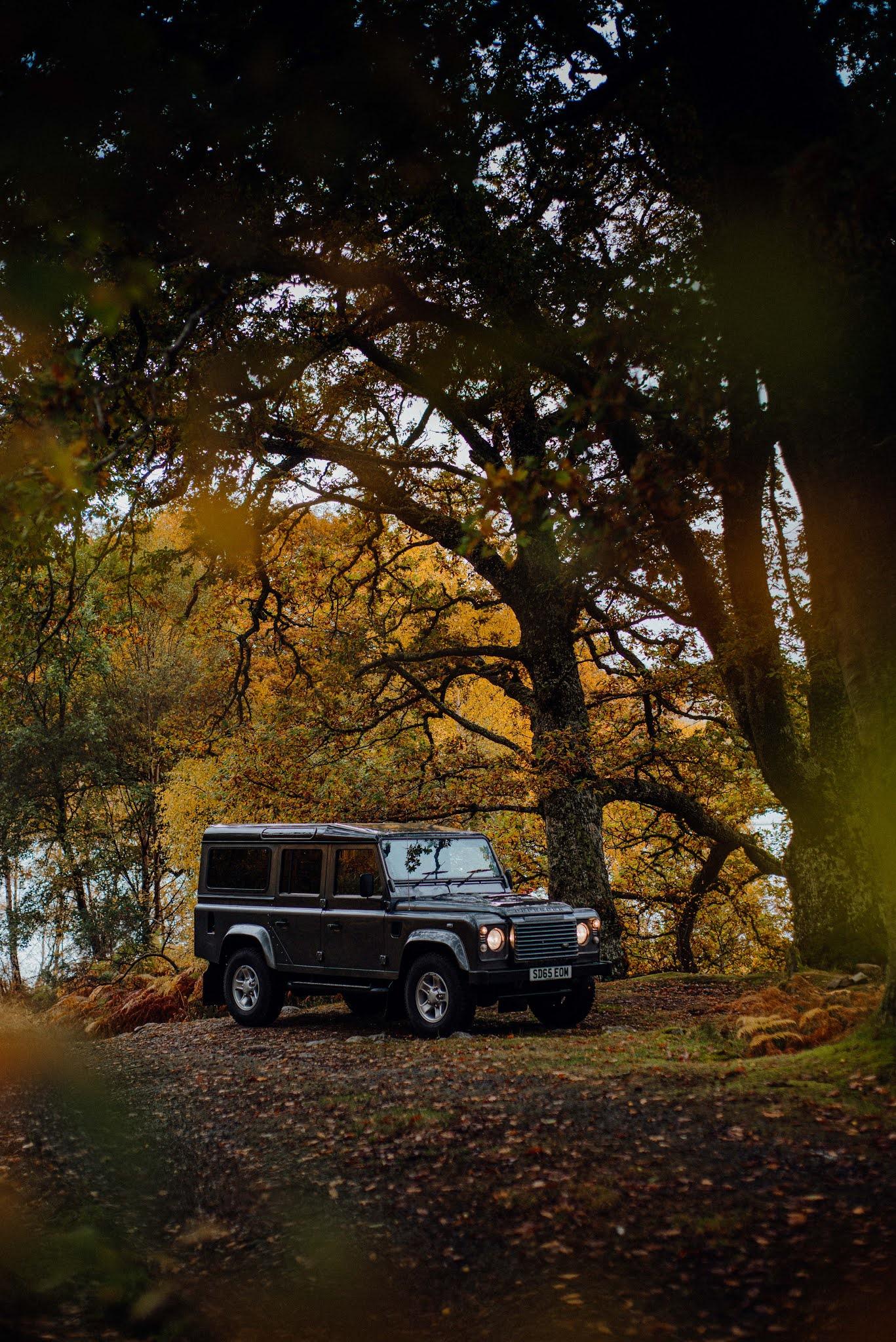 autumn drives landrover defender