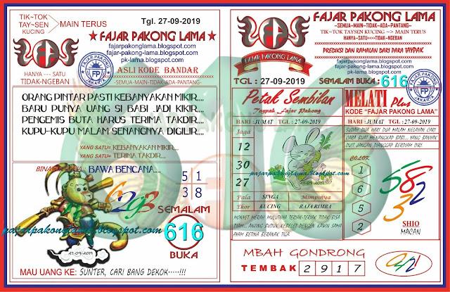 Kode Syair Togel Hk Jumat 27 09 2019 Res Paito