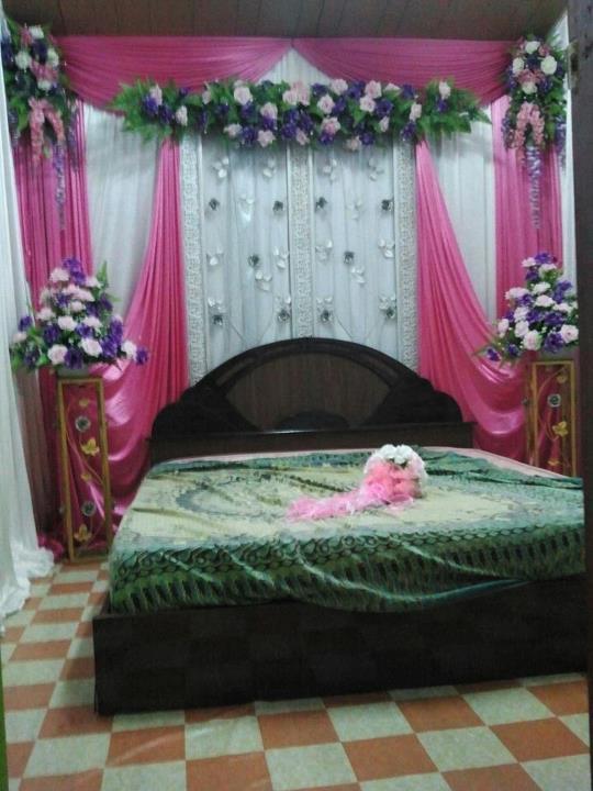 Set Bilik Tidur Bidar Besi Bunga Panjang Warna Tema Pink Putih