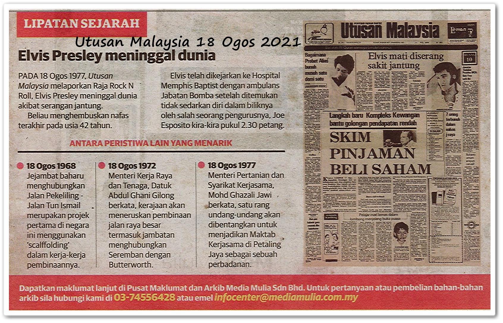 Lipatan sejarah 18 Ogos - Keratan akhbar Utusan Malaysia 18 Ogos 2021