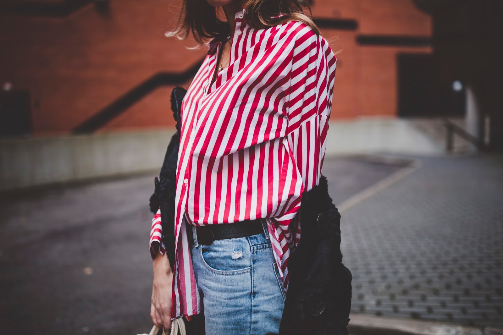 red stripe shirt outfit