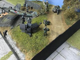 """Diorama """"repos du 109"""" Diorama d'un Bf 109 Eduard et sidecar tamiya au 1/48"""