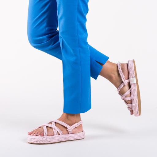 Sandale roz cu talpa joasa cu model impletit