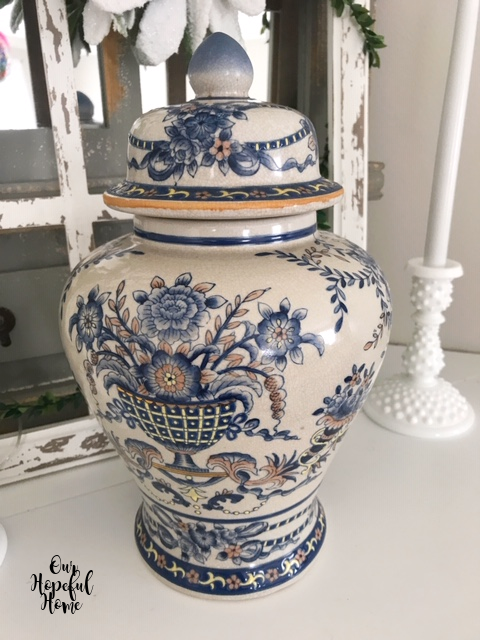 blue and white painted ginger jar with lid