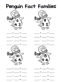 FREE penguin fact families worksheet: Looking for fun activities for teaching fact family triangles? Check out this winter-themed printable, which is available in addition/subtraction for first & second grade as well as multiplication/division for third & fourth grade.