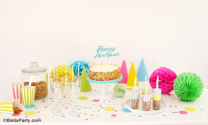New Year's Eve DIY Confetti Inspired Party Ideas for Kids - BirdsParty.com