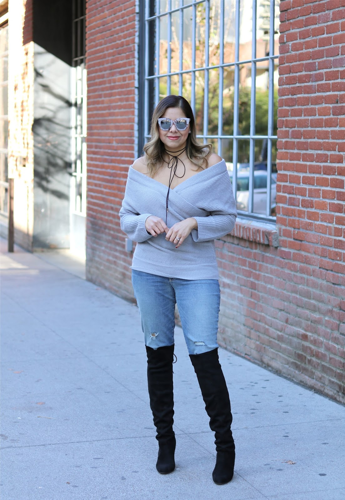 top san diego fashion blogger, chicwish sweater outfit idea, over the knee boots with distressed jeans