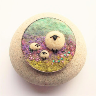 felt sheep art brooch