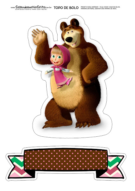 Masha and the Bear Party: Free Printable Cake Toppers.