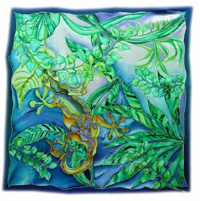 gekon namalowany na jedwabnej apaszce, zieleń , szafir