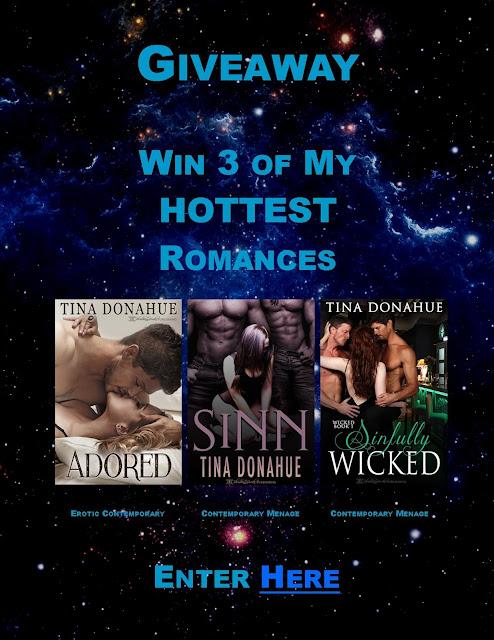 Giveaway – Tina Donahue Books – Win 3 Erotic Romances #TinaDonahueBooks #EroticRomance #Menage