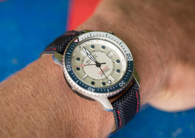 Wristshot of the Bremont Waterman