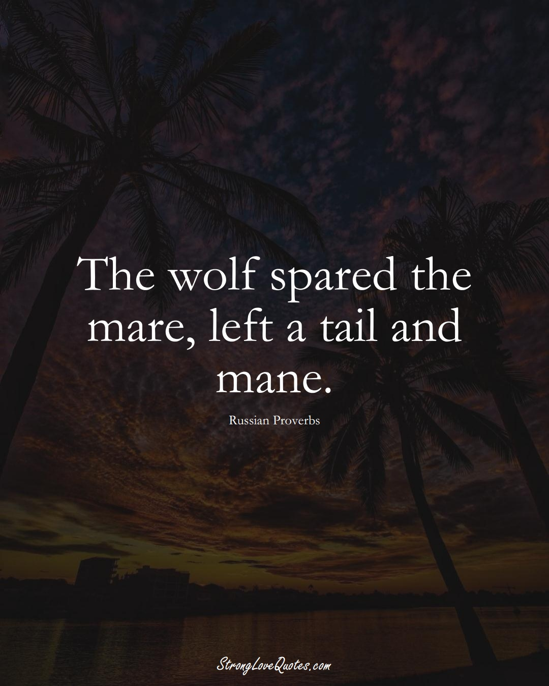 The wolf spared the mare, left a tail and mane. (Russian Sayings);  #AsianSayings