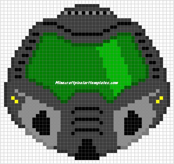Minecraft Pixel Art Templates Doom Slayer Helmet